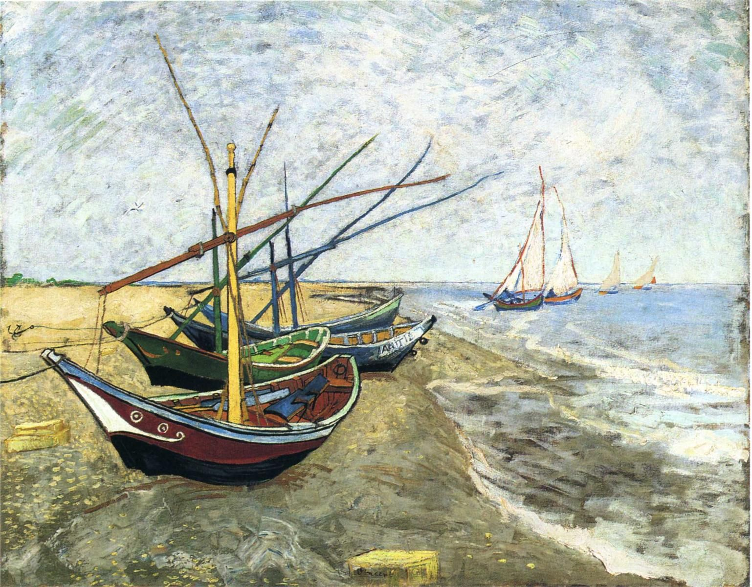 Page: Fishing boats on the Beach at Les Saintes-Maries-de-la-Mer Artist: Vincent van Gogh Completion Date: 1888 Place of Creation: Saintes-maries-de-la-mer, France Style: Post-Impressionism Genre: marina Technique: oil Material: canvas Dimensions: 81.5 x 65 cm