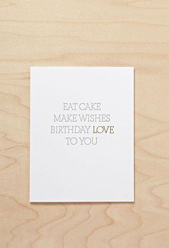Sugar Paper Eat Cake Card | FOREVER21 | #f21branded