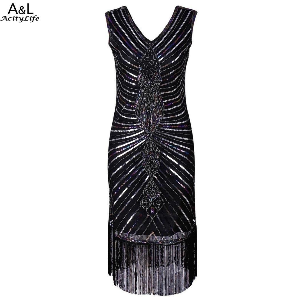 Women Party Dress Robe Femme 1920s Gatsby Flapper Sequin Fringe Embroidery  Midi Summer Retro Black Dress 2018 Vestidos De Festa. daa614811e07