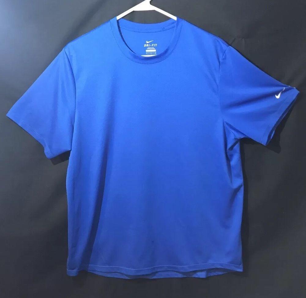 Nike dri fit shirt mens size large blue drifit ebay