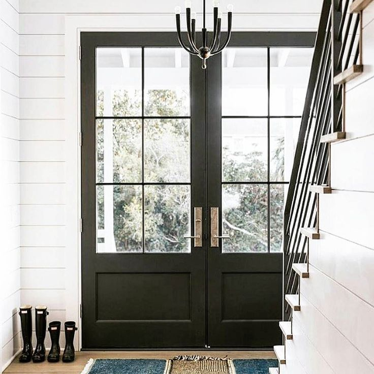 Glass front doors | Black front doors | Double front doors | Shiplap ...