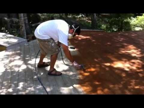 Staining A Deck With An Airless Sprayer Youtube Staining Deck Deck Sprayers