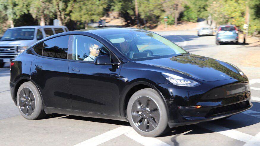 Tesla Model Y In Black Paparazzied Outside The Tesla Hq In Palo