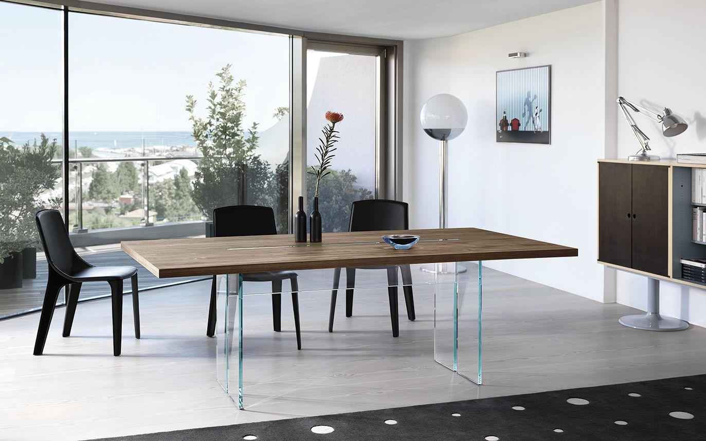 Tavolo da pranzo / moderno / in legno / in vetro LLT WOOD FIAM ...
