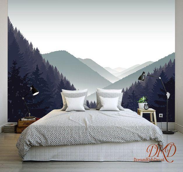 Berg Wandmalerei, Nebelig Grau Berg Landschaft Tapete