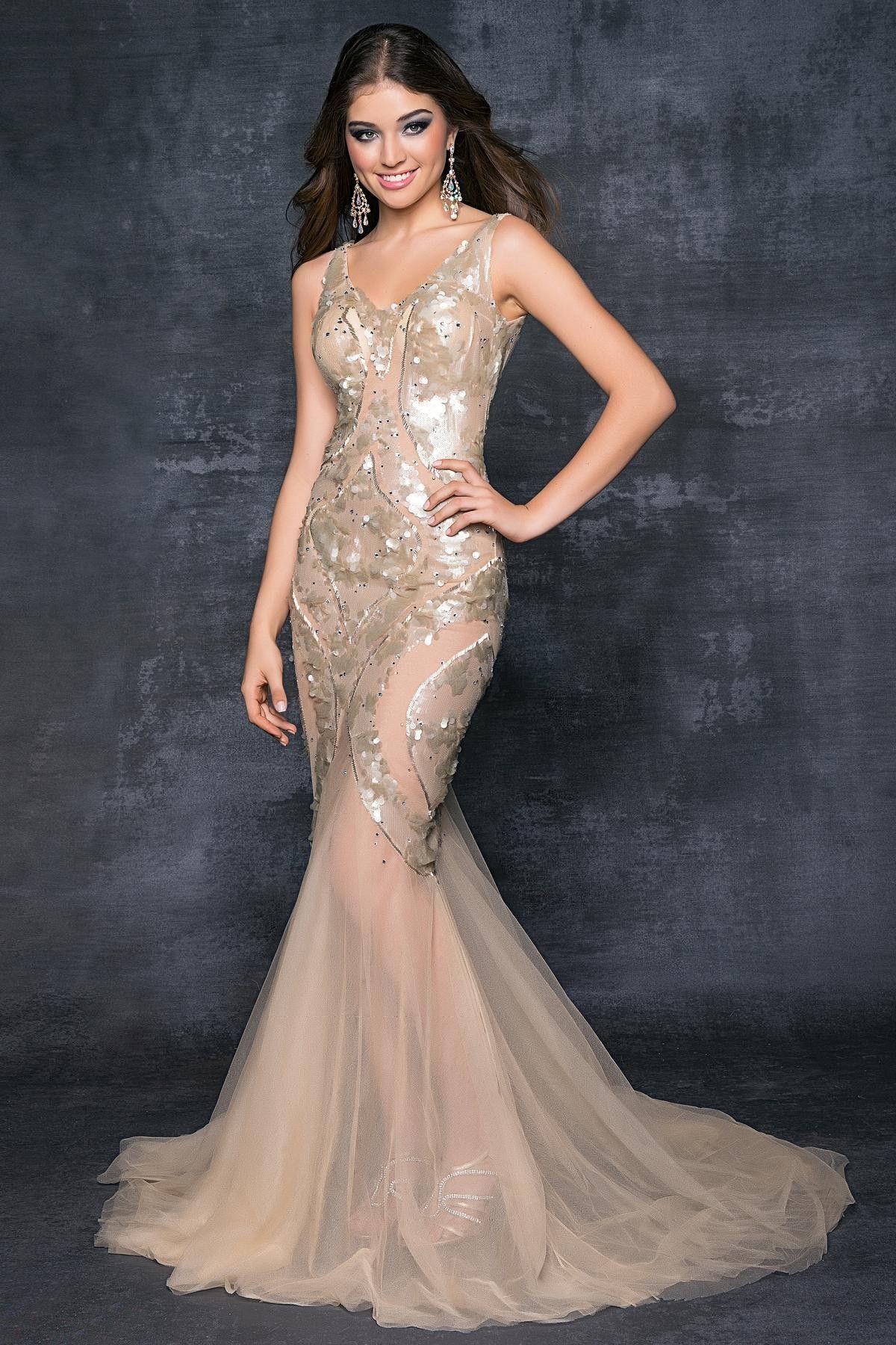 Champagne & Nude Sequin Illusion Mermaid Prom Gown $349.99 Designer ...