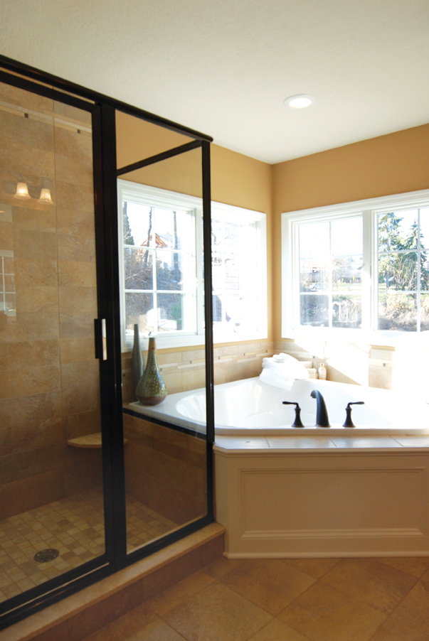 Master bathroom with glass shower and large corner tub   DIY ...