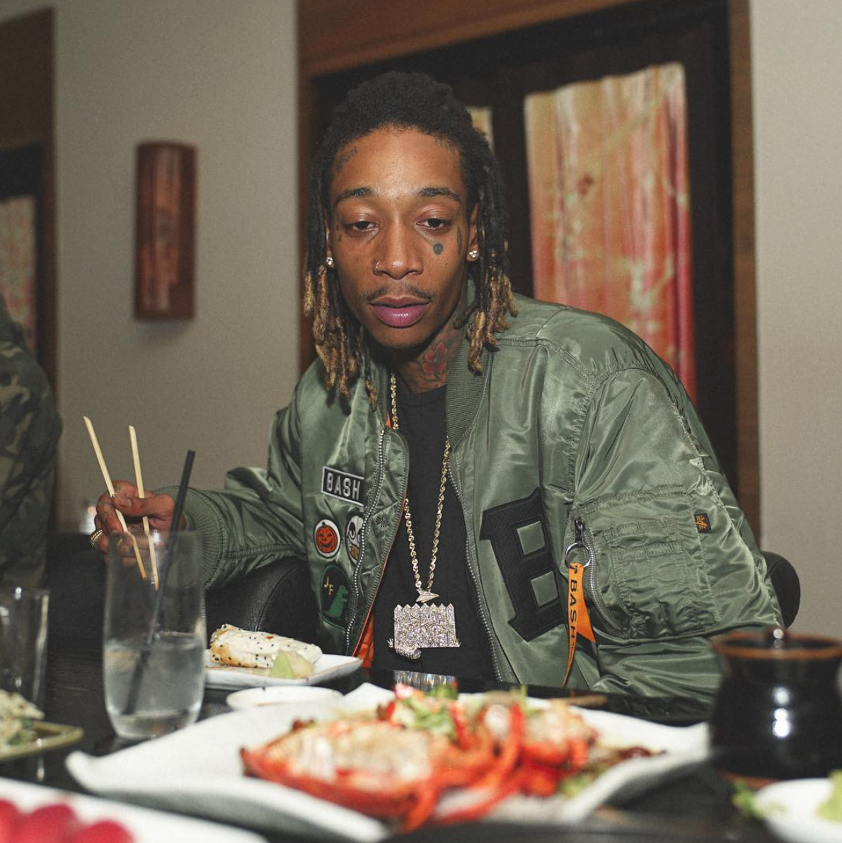 Pictures of wiz khalifa pictures of celebrities - Wiz Khalifa Rocks A Bomber From His Alpha X Junk Food Collab Bash On His Instagram