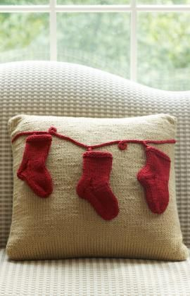 Holiday Pillow with Stockings Free Knitting Pattern from Red Heart Yarns