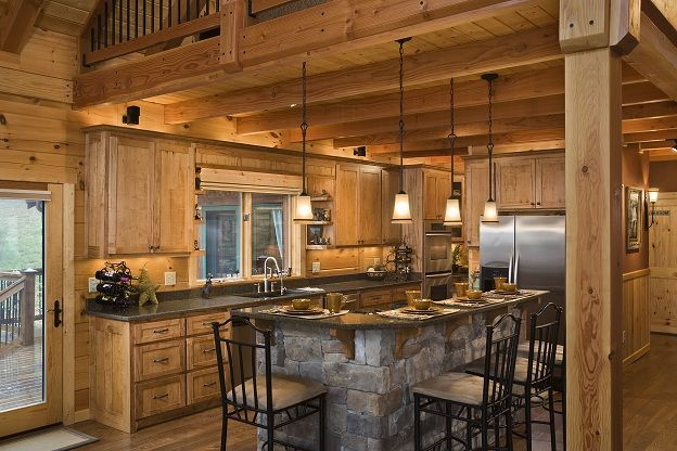 Great Size Kitchen For Cooking Open Butler S Pantry Behind Refrigerator Wormy Maple Cabinets Cultured S Log Home Kitchens Log Cabin Kitchens Cabin Kitchens