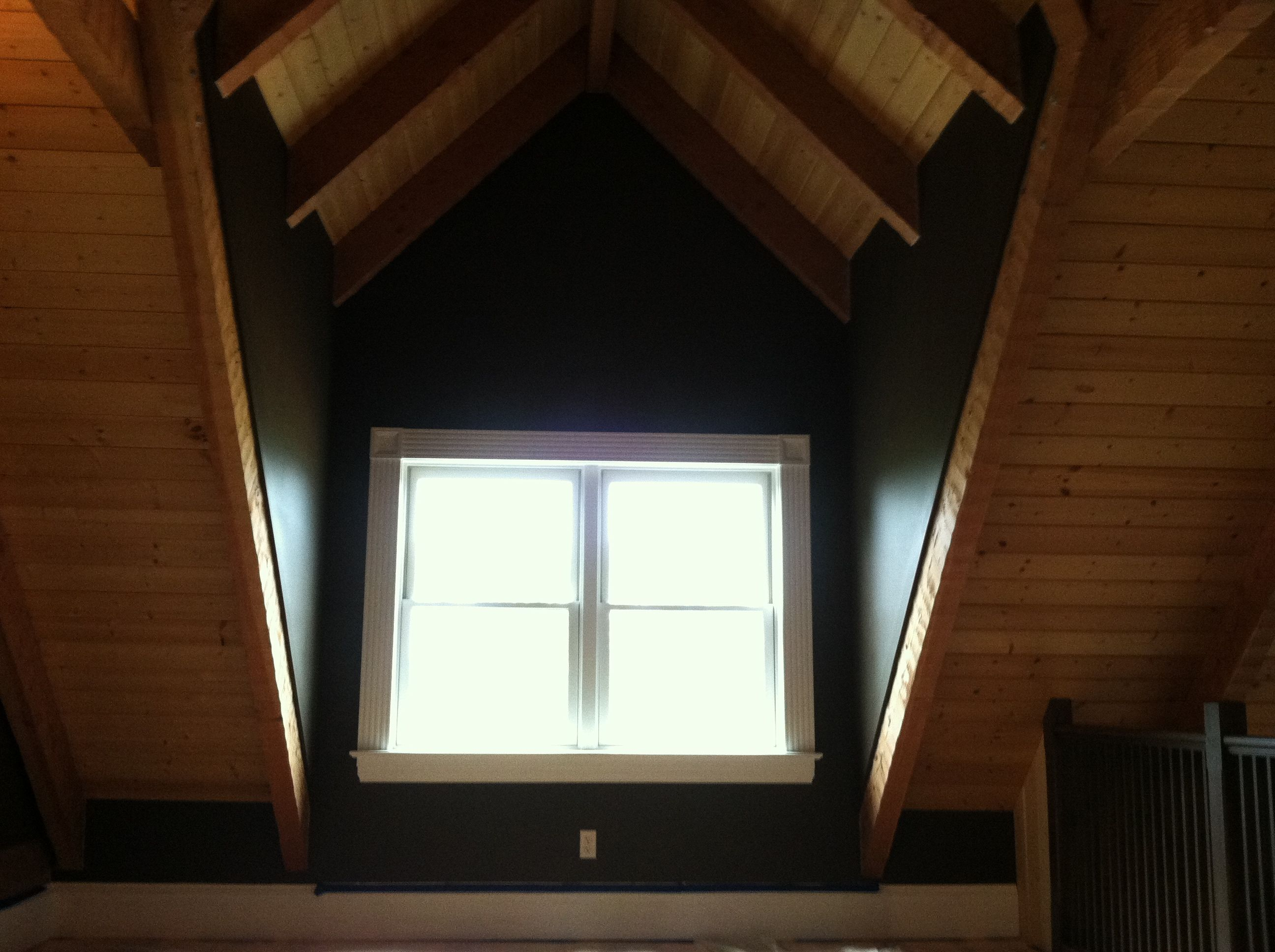 Cabin Interior Loft   Wall Color (Leather Chair), Wood Ceilings Sealed, U0026