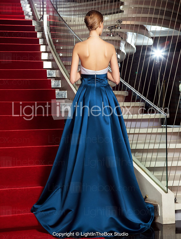 Aline princess strapless asymmetrical satin evening dress inspired