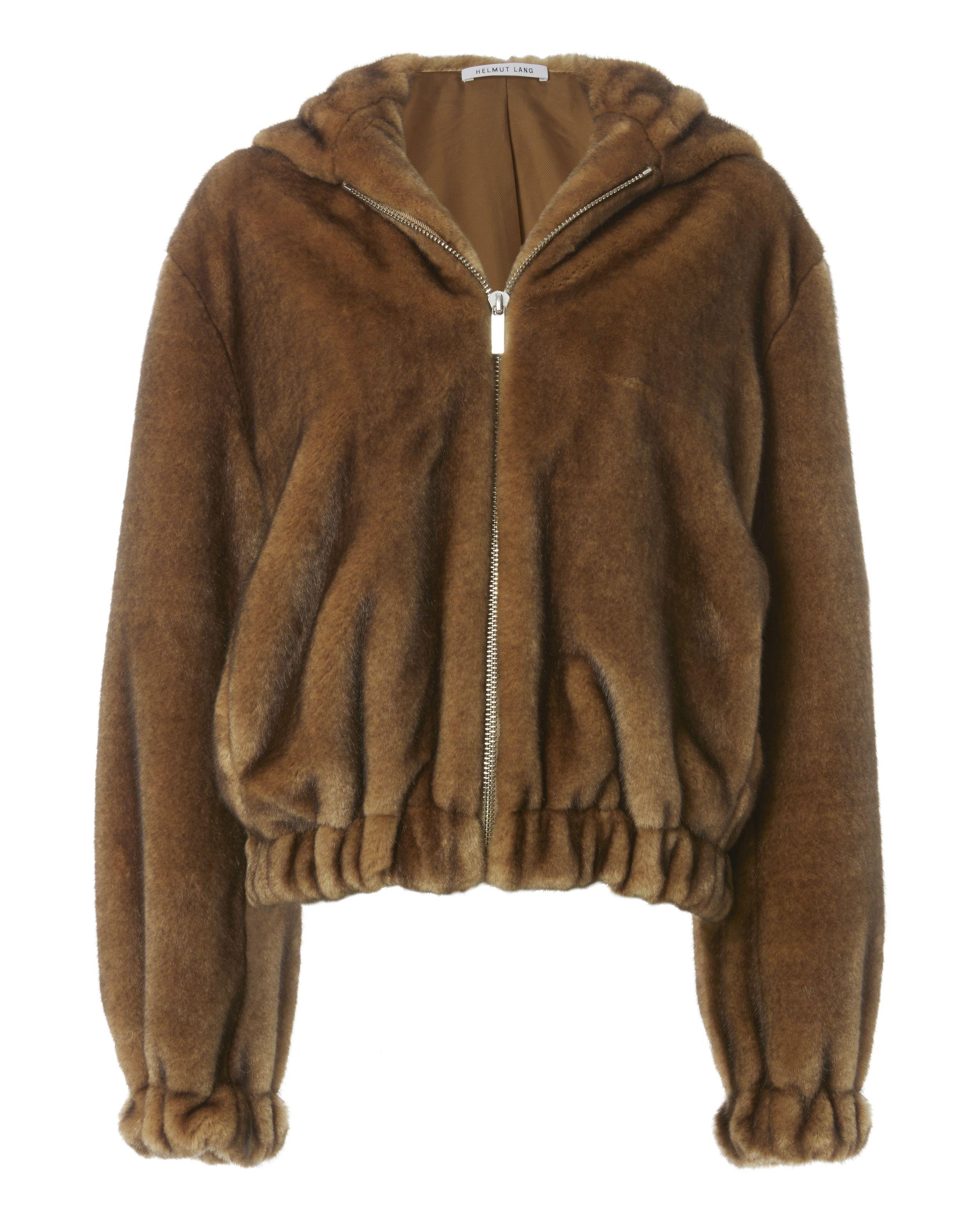 Faux Fur Hooded Bomber Jacket Faux leather bomber jacket
