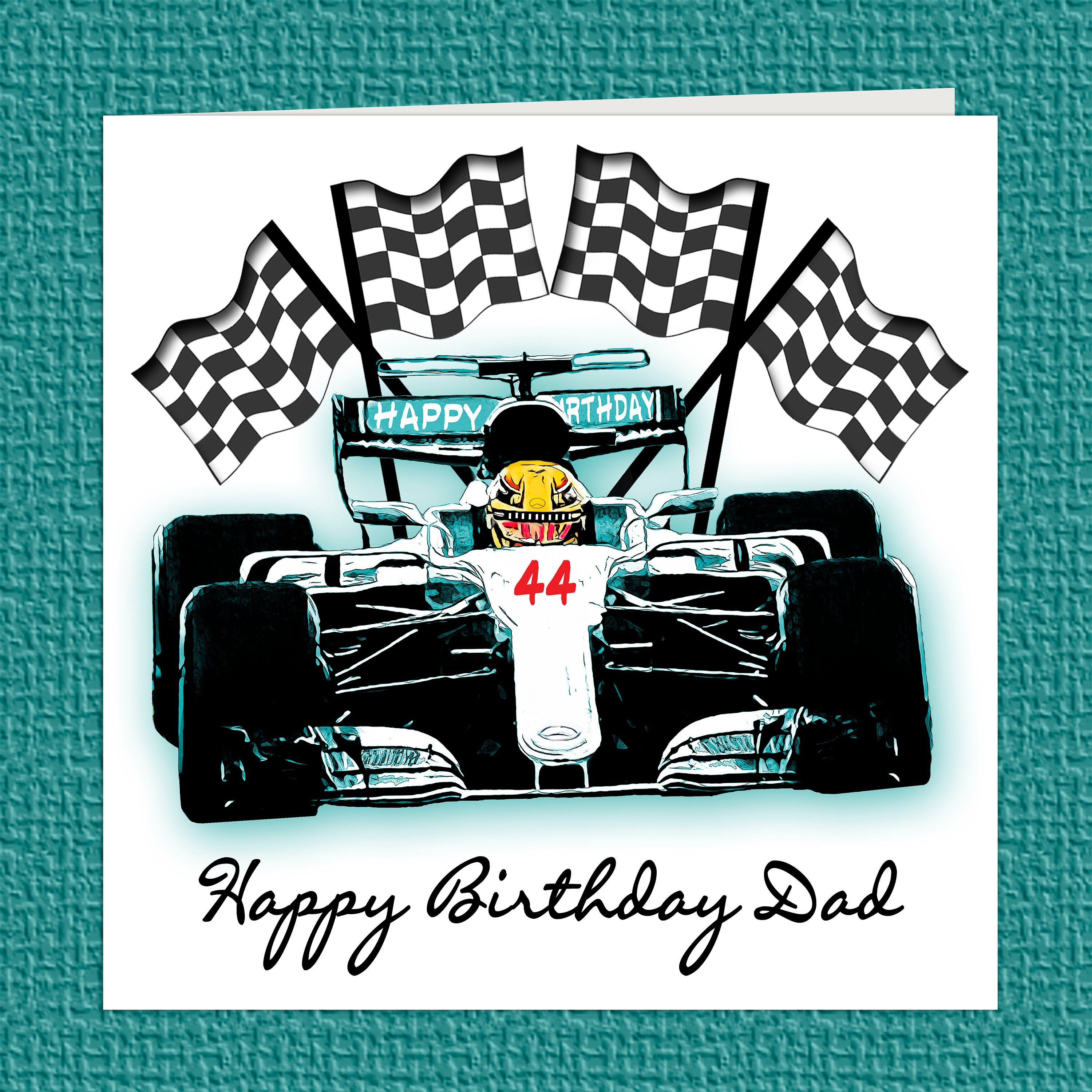 F1 Car Personalised Name/Relation and Age Birthday Card