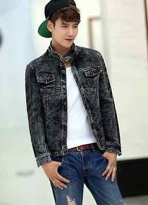 Coreano angústia Denim Pu Fabricada Colar do carrinho Curto Slim Men's Jeans Jaqueta Casaco