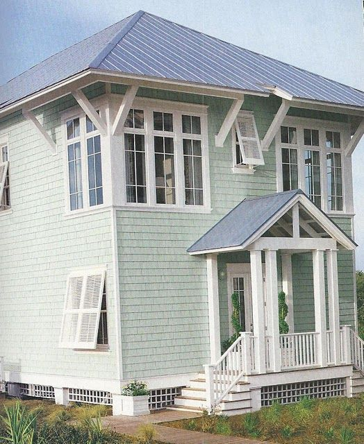 Beach House Exterior: Beach House Shingled Exterior In Sea Glass Green With