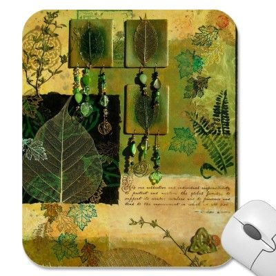 Green Multi-Media Collage Mouse Pad