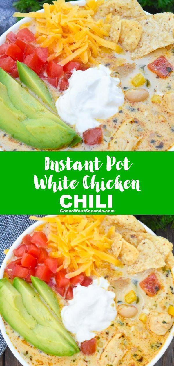 Instant Pot White Chicken Chili (Comfort Food!) #whitechickenchili