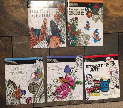 Lot Of 5 Brand New High Quality Adult Coloring Books 1 Street Art
