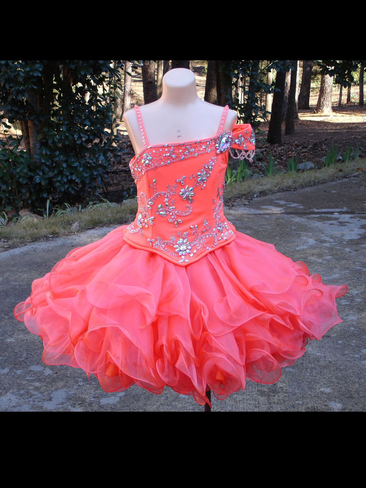 0979db4fe Size 5 Tangerine In StockStunning Unique Fashion Pageant Dress ...