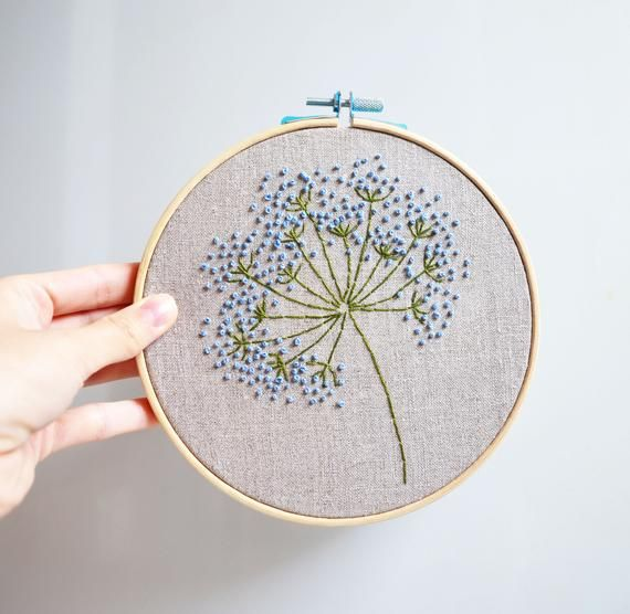 Blue wild flowers embroidery hoop art Floral wall art Hand embroidered Framed room decor Beginner hand stitched Botanical gift