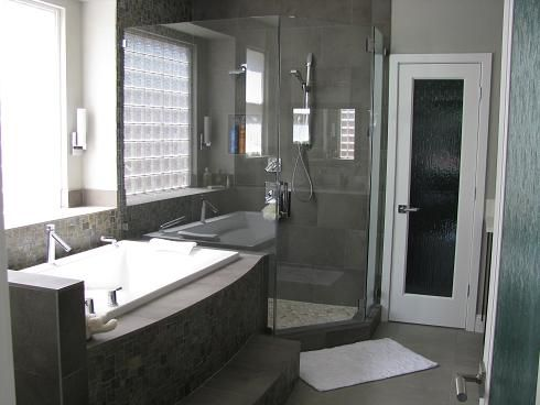 modern master bath renovation tile and slate wallsfloors in hues of gray - Modern Master Bathroom Designs