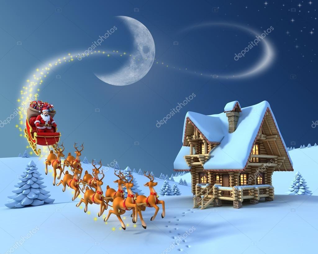 Christmas Night Scene Santa Claus Rides Reindeer Sleigh In Front Of The Log Ho Sponsored Santa Claus Sc Christmas Night Night Scene Diamond Painting