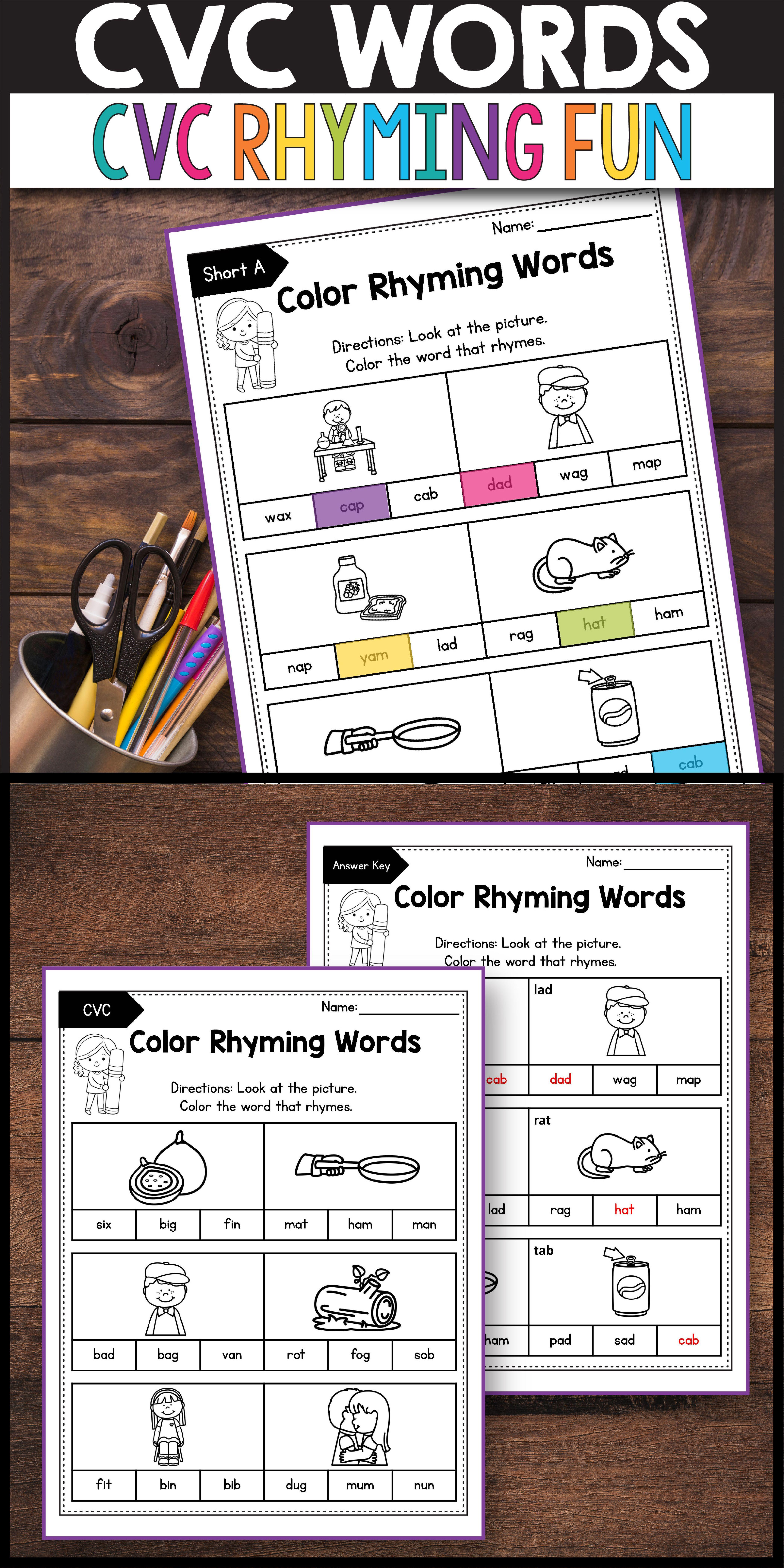 Blending Cvc Words Flashcards And Worksheets Cvc Words Cvc Words Worksheets Cvc Words Kindergarten [ 8334 x 4168 Pixel ]