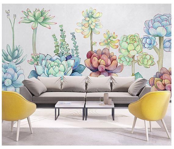 Northern European Succulent Plantst Wallpaper, Green