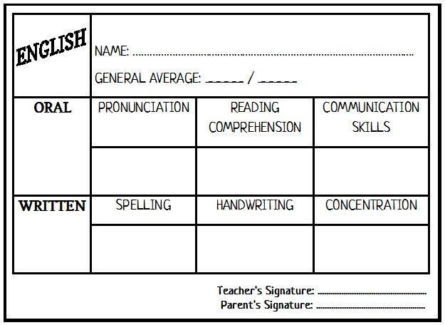 Report Card Template Report Card Template Spelling And Handwriting Teaching