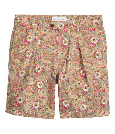 Cotton Shorts | Camel/patterned | Men | H&M US | What I Love ...