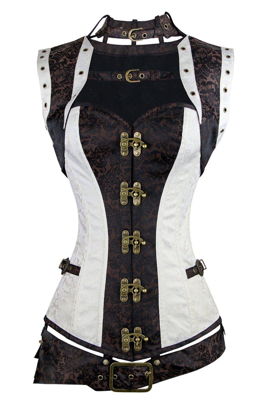 Charmian Women/'s Steampunk Vintage Lace up Renaissance Corset Top with Garters