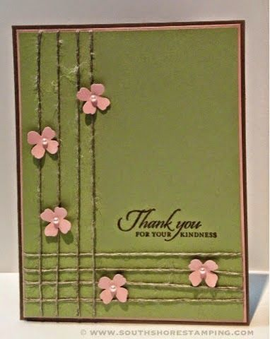 Stampin' Up! ,,, handmade thank you card for Nacho Average Challenges ... olive with pink punched flowers on twine lines ... like the way the two four twine lines cross in the corner ... would love to see them woven instead of just crossing  ... like it!