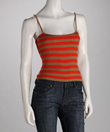 Take a look at this Orange & Brown Stripe Camisole by Blow-Out on #zulily today!