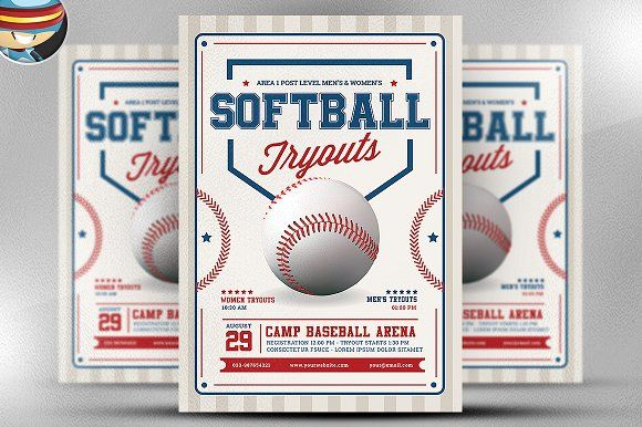 Softball Tryouts Flyer Template | Flyer template, Template and Brochures