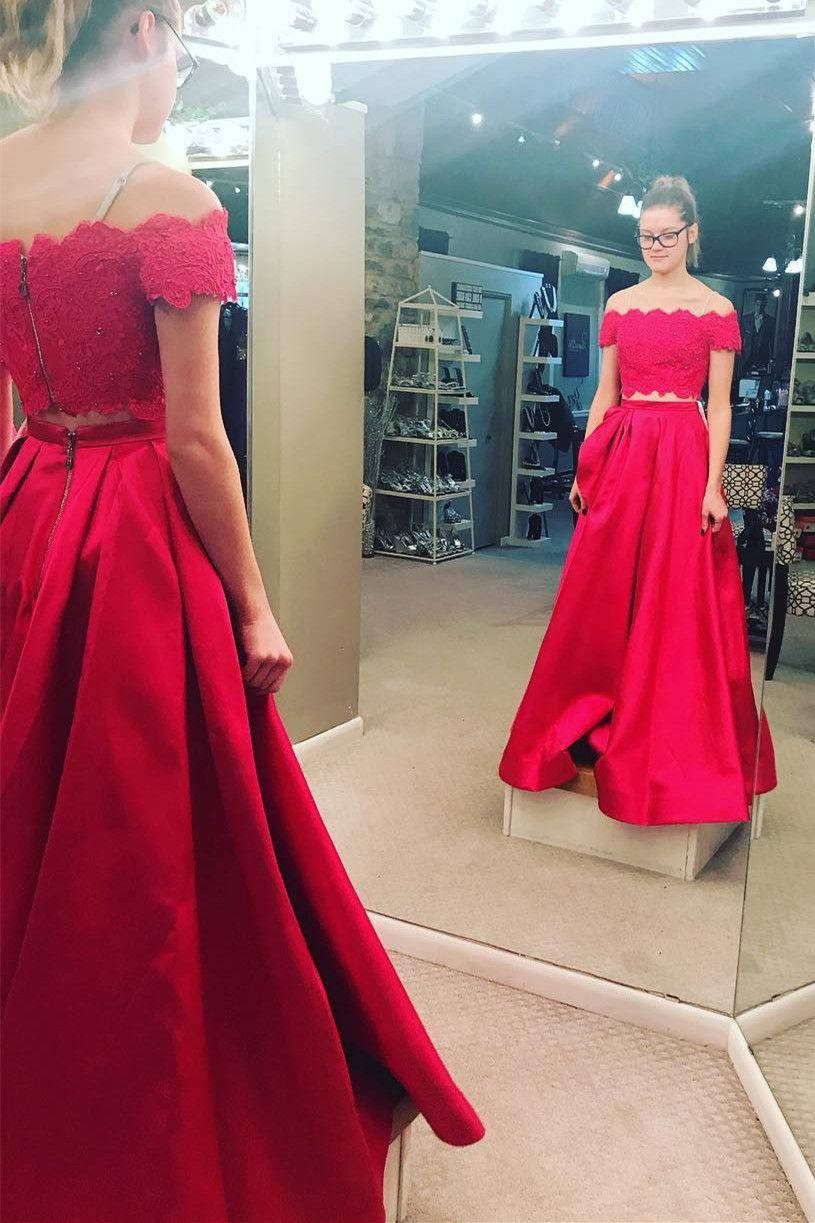 Two piece off the shoulder whitered long prom dress eevening