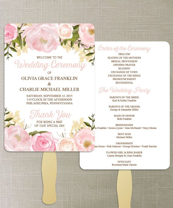 Instant Download  Floral Diy Printable Wedding Fan Programs