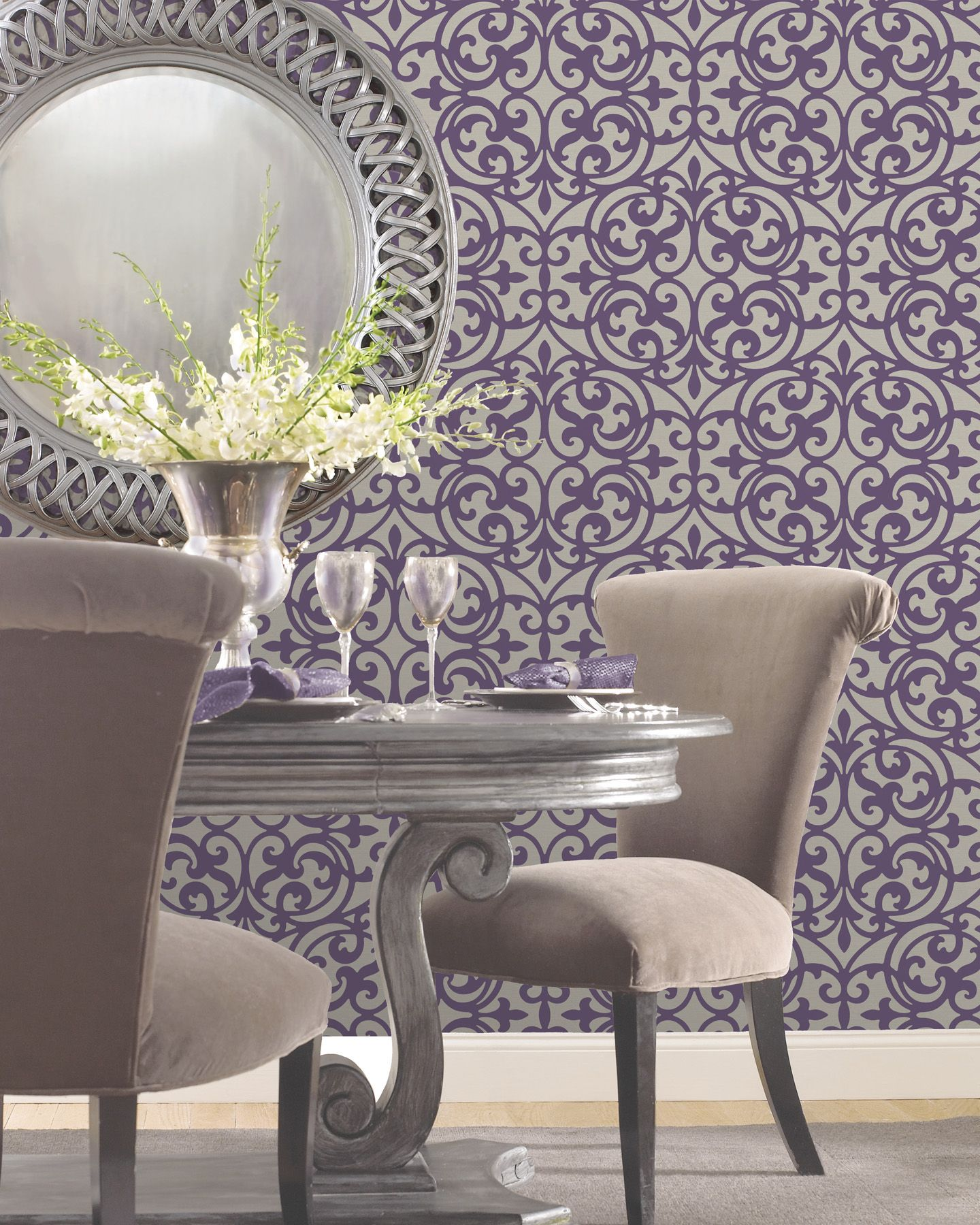 Purple dining room feature wall wallpaper decor idea for Wallpaper for dining room feature wall