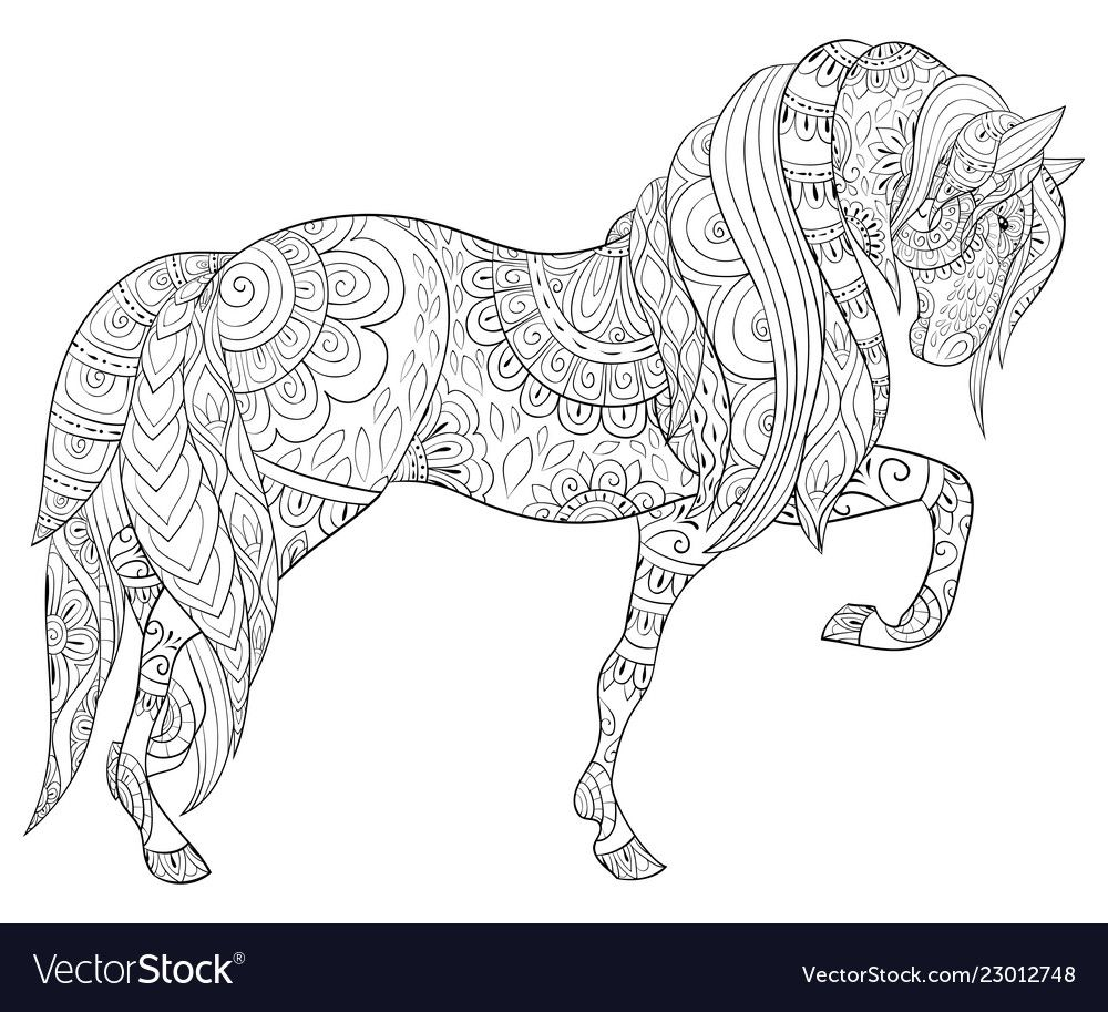 A Cute Horse With Ornaments Image For Adults Zen Art Style Illustration For Relaxing Poster Design For Pr Horse Coloring Pages Coloring Book Art Horse Coloring