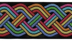 "1 1/2"" Celtic Knot Rainbow ~ Black Red Yellow Blue Orange Aqua Green $5.50 per yard"