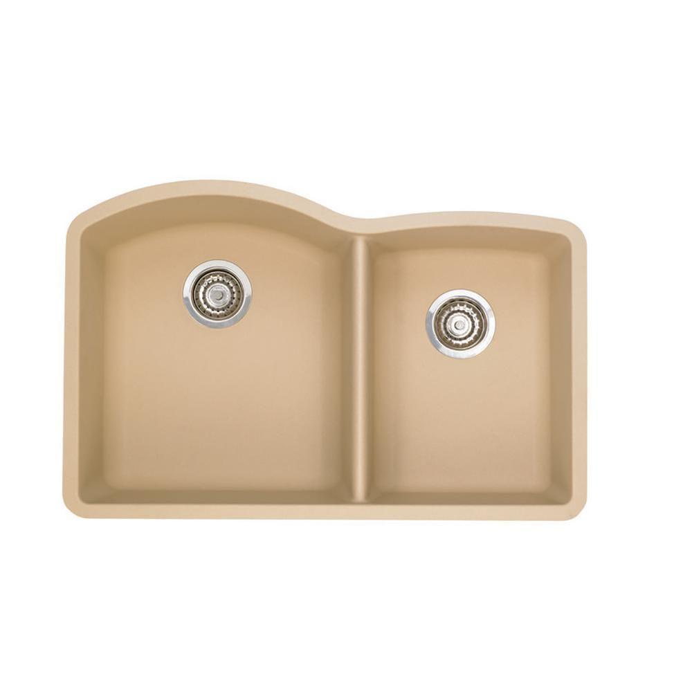 Blanco Diamond Undermount Granite Composite 32 In 60 40 Double Bowl Kitchen Sink In Biscotti In 2020 Double Bowl Kitchen Sink Composite Kitchen Sinks Sink