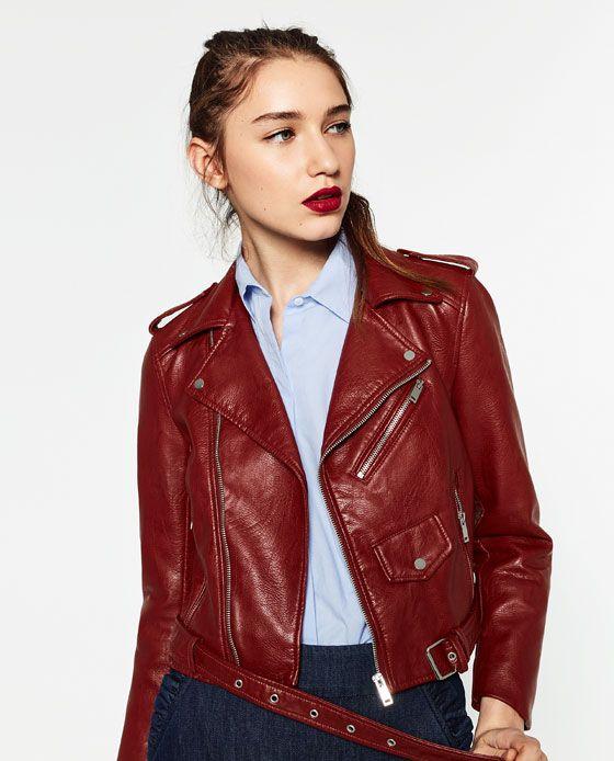 Cazadora de piel roja mujer zara
