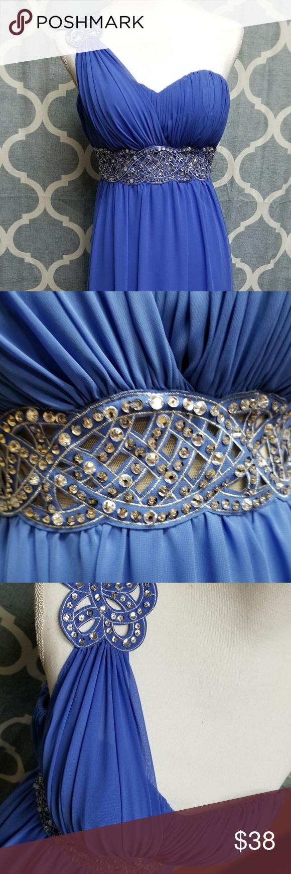 B darlin prom dress blue sz greek one shoulder my posh closet
