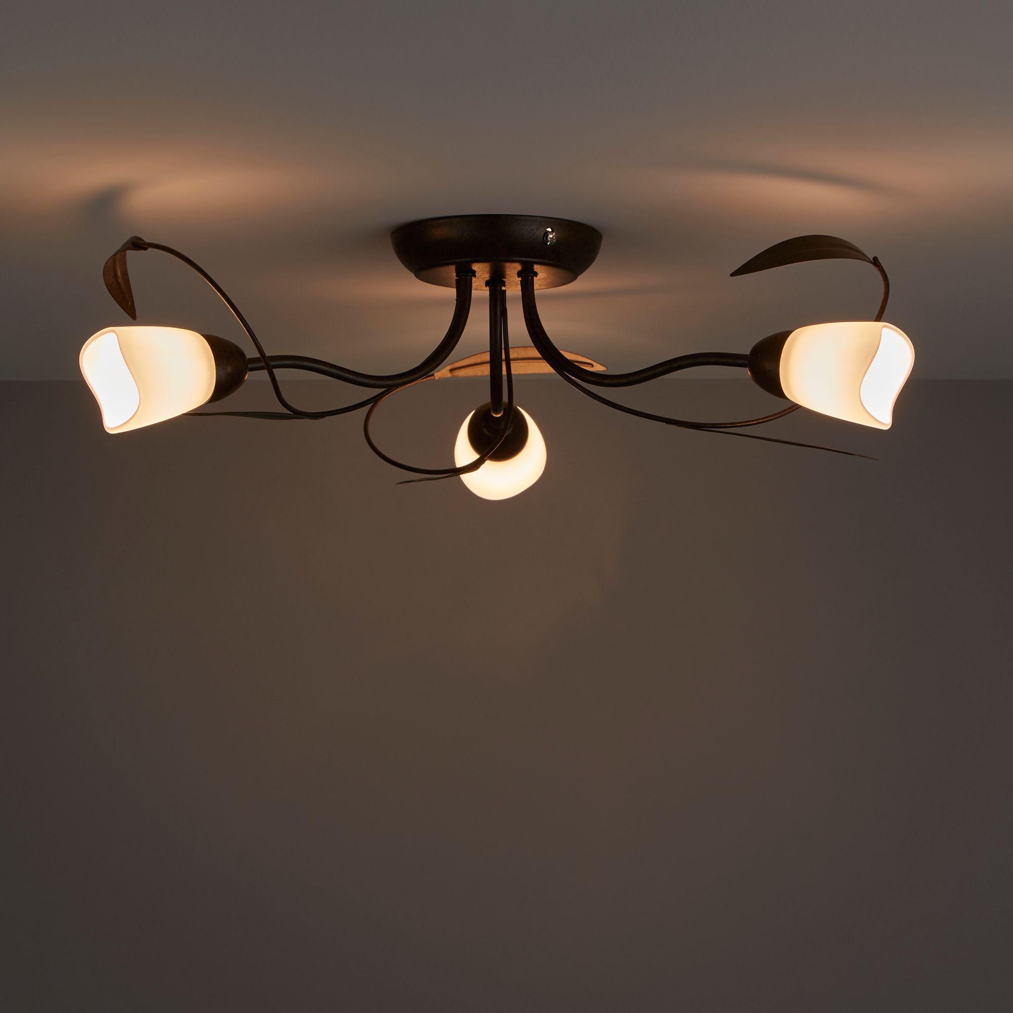 Honos Black & Brown Brushed 3 Lamp Ceiling Light B&Q for