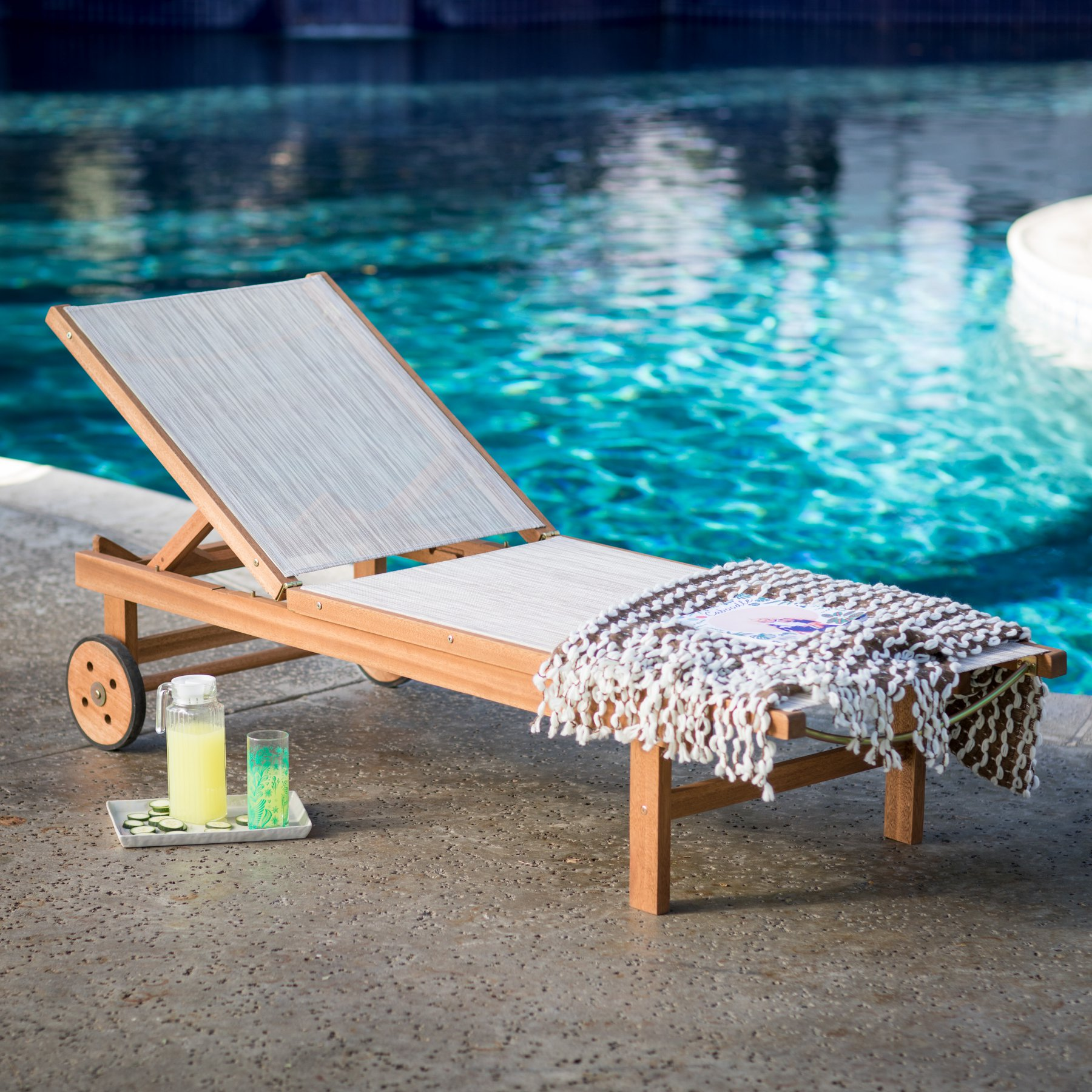 Belham Living Boca Vista Outdoor Wood Sling Chaise Lounge