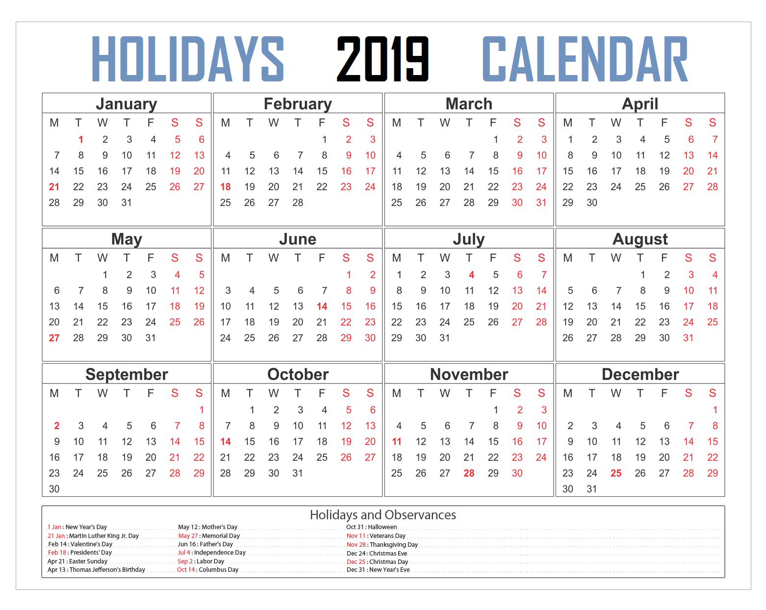 Holidays 2019 Calendar | 2019 calendar