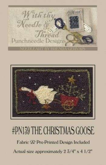 The Christmas Goose Punch Needle Pattern By With Thy Thread