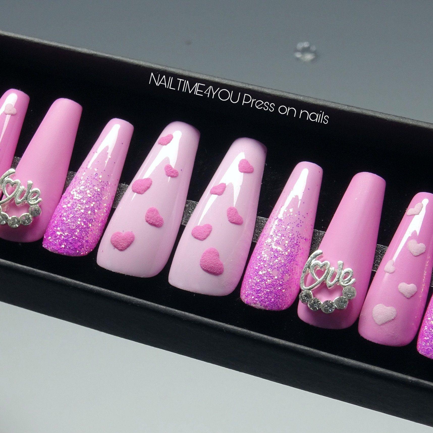 Valentines Press On Nails Pink Love Nails Glue On Nails Etsy Press On Nails Glue On Nails Pink Nails