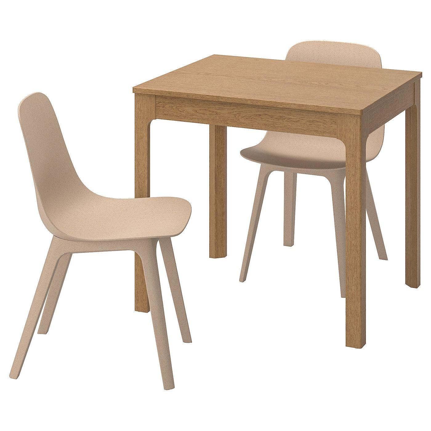 Ekedalen Odger Tisch Und 2 Stuhle Eiche Weiss Beige Stuhl