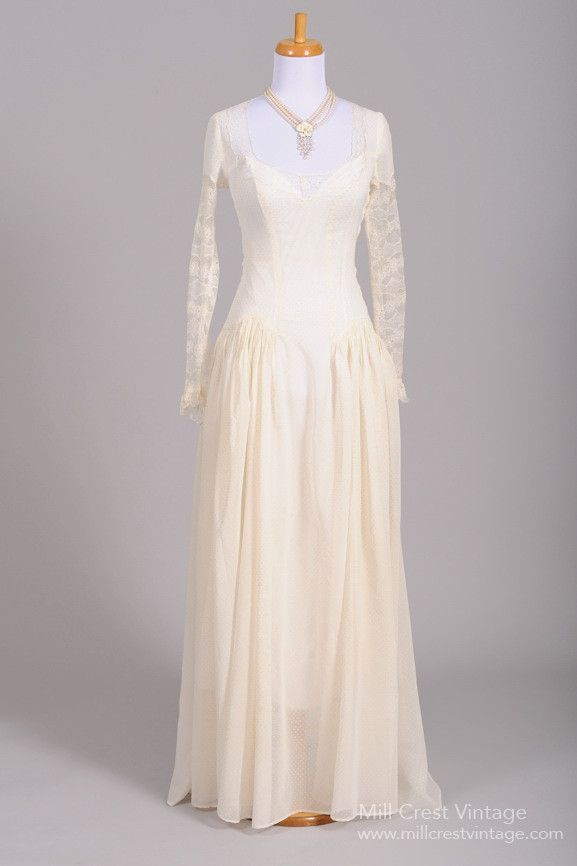 1940 Dotted Swiss Lace Vintage Wedding Gown , Vintage Wedding ...